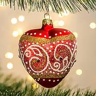 Новогодний декор елочное украшение Сердце Полоска