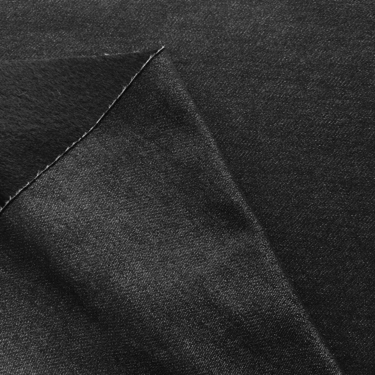 Ткань джинс на флисе черный