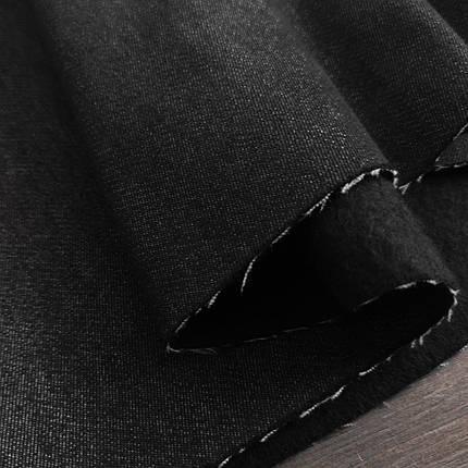 Ткань джинс на флисе черный, фото 2