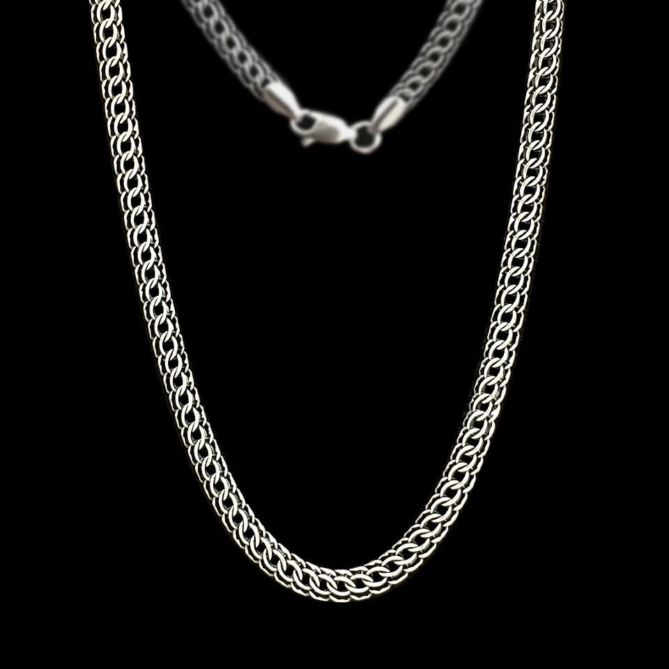 Серебряная цепочка, 550мм, 25 грамм, плетение Питон, чернение