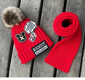 Шапка детская махра с шарфом в комплекте 2-8 лет 2-8 лет красная
