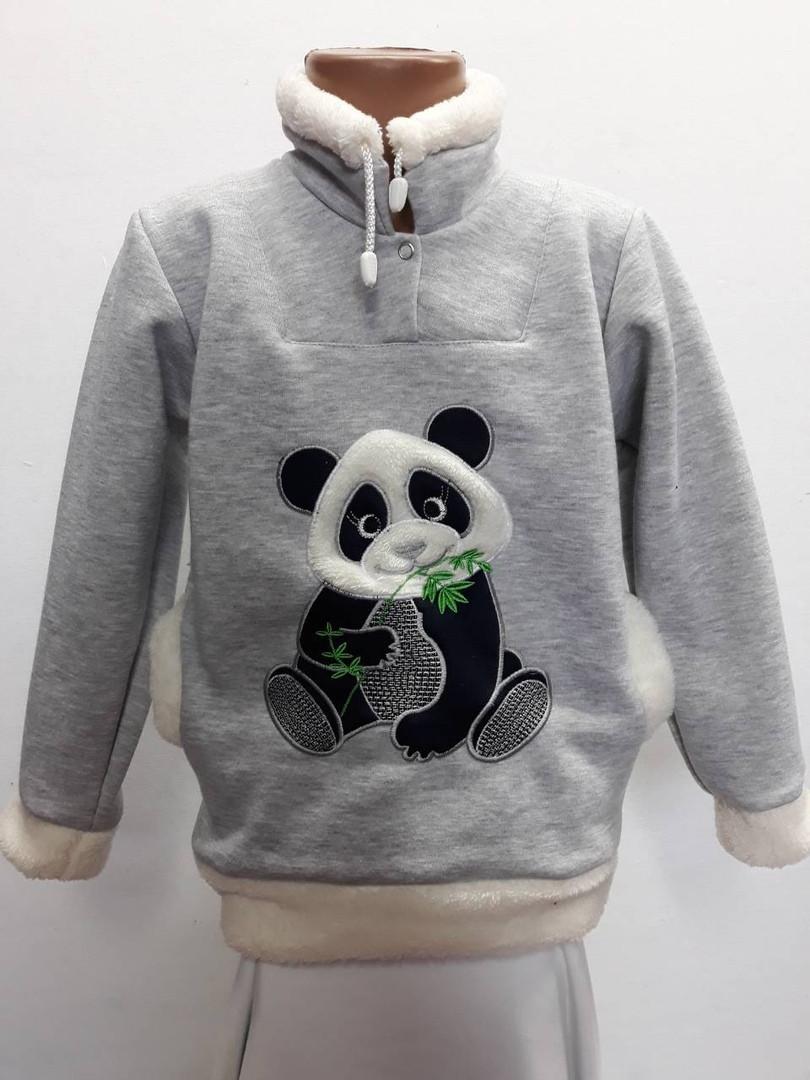 Теплый батник панда с меховой опушкой