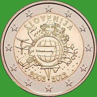 Словения 2 евро 2012 г. 10 лет наличному обращению евро . UNC.