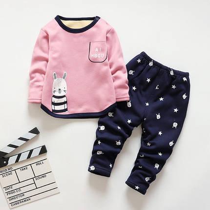 Пижама детская для девочку утепленная махра на девочку  осень/зима, фото 2