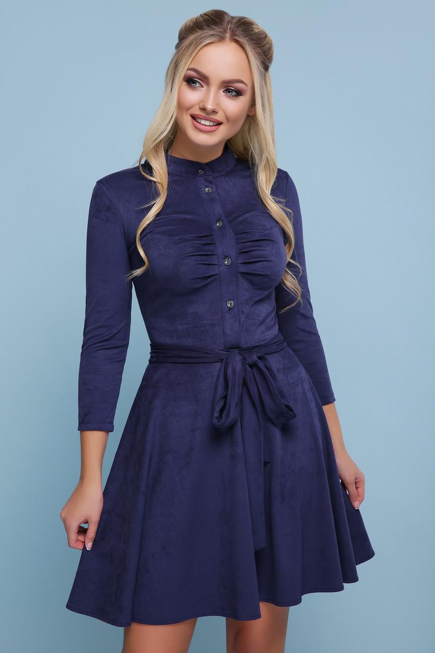 Женское синее замшевое платье Дейзи д/р
