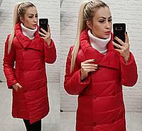 Женская длинная куртка пальто (арт 1002) красный, фото 1
