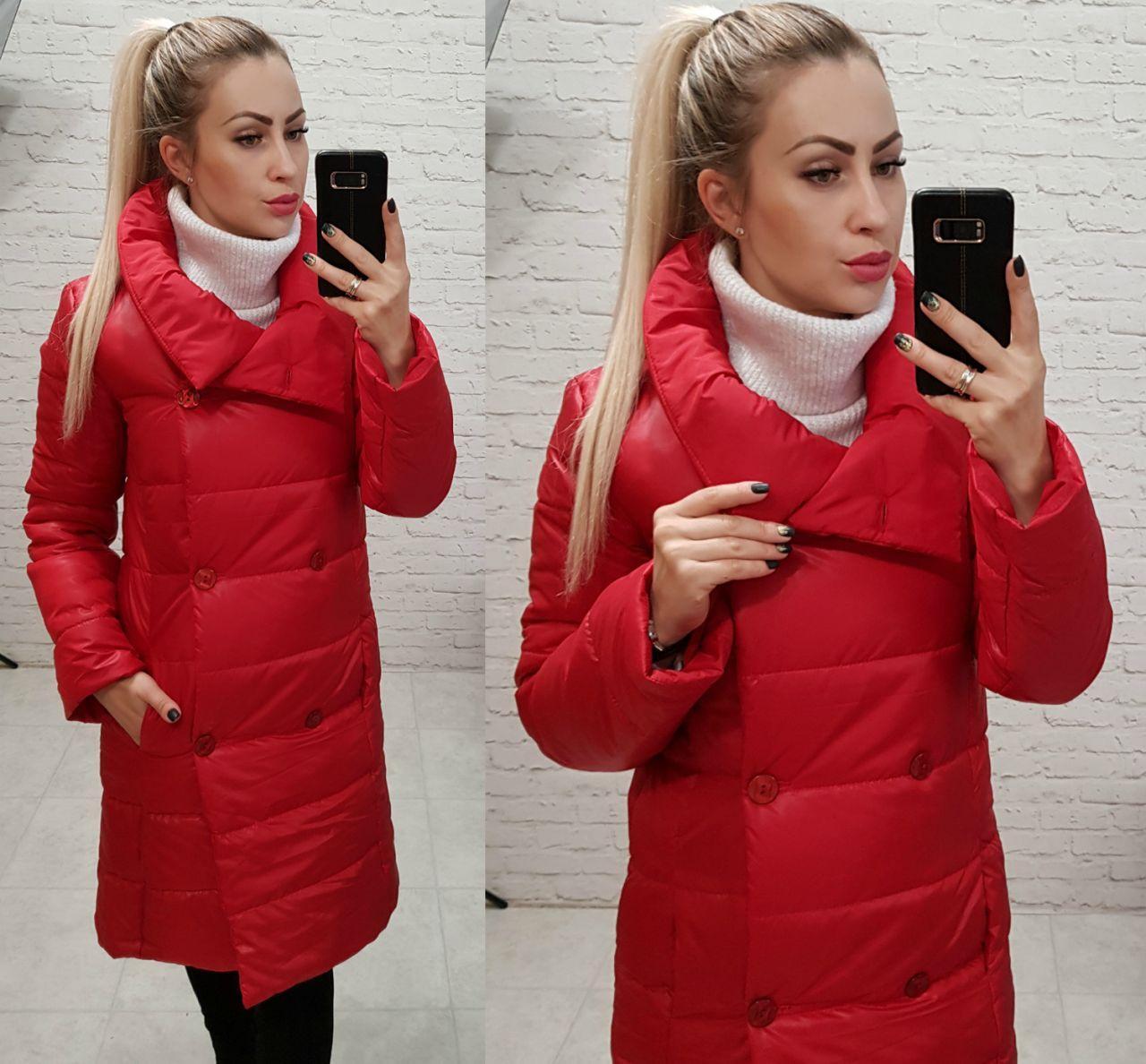 Женская длинная куртка пальто (арт 1002) красный