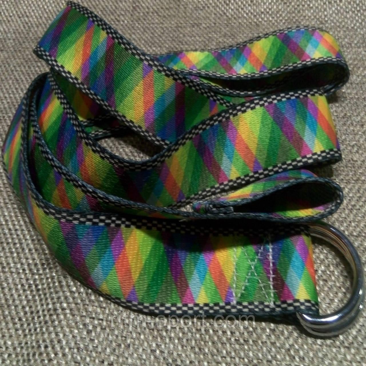 Ремень для йоги (цветной узор спектр)