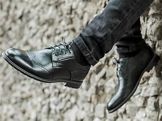 Мужские туфли, броги, чёрная кожа