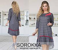 Повседневное свободное платье ангора софт принт  р.48-58