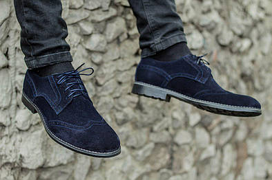 Мужские туфли, броги, синий замш
