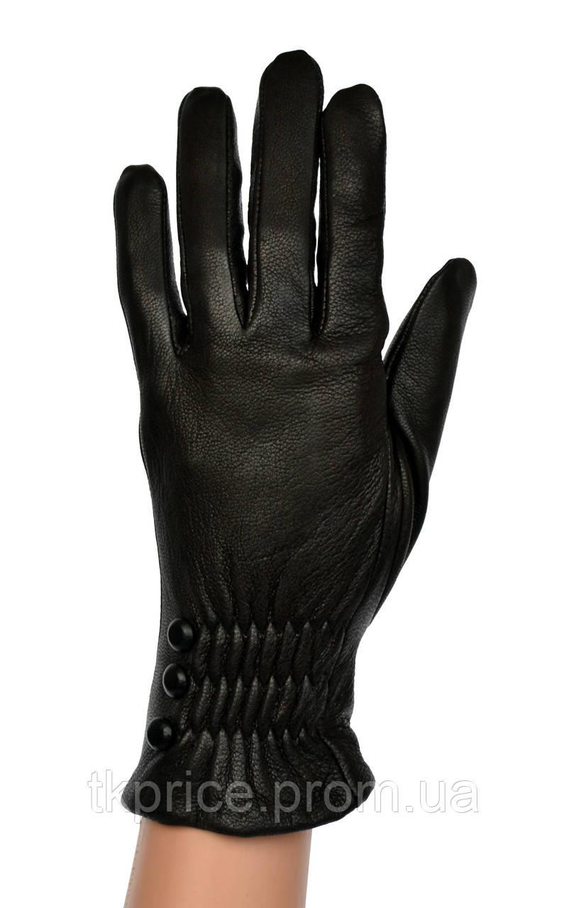 Женские кожаные перчатки из оленьей кожи с шерстяной подкладкой