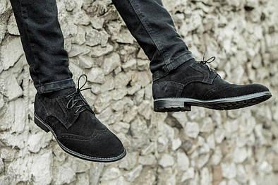 Мужские туфли, броги, чёрный замш