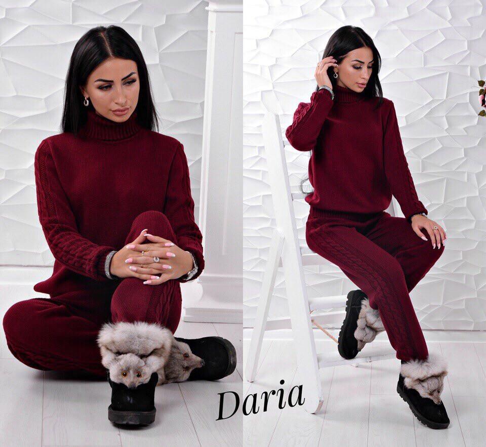 Вязаный костюм цвет марсала Daria