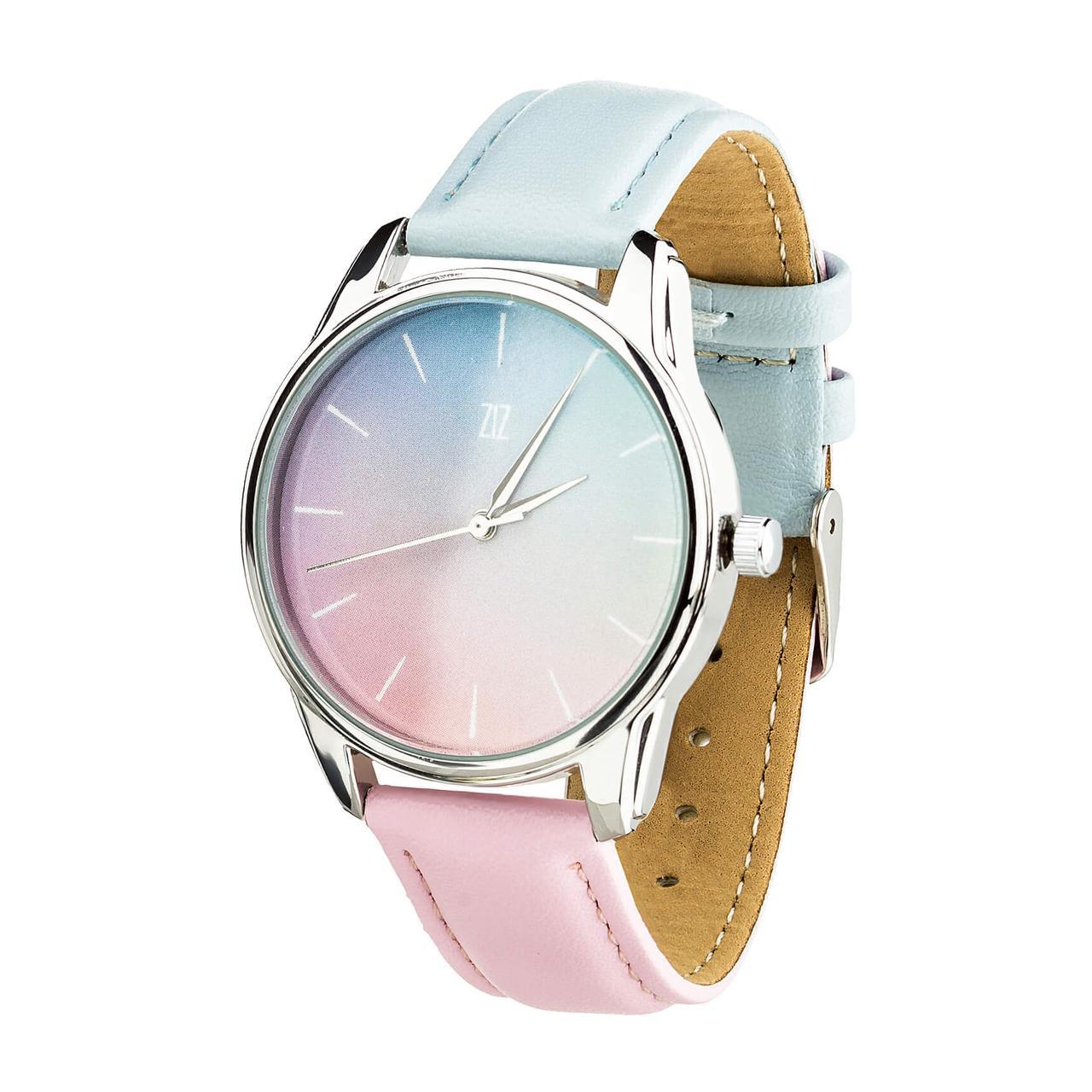 """Часы """"Розовый кварц и Безмятежность"""" (ремешок голубо-розовый, серебро) + дополнительный ремешок"""