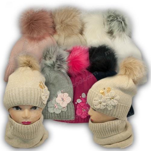 ОПТ Комплект шапка и шарф для девочки, р. 50-52 (5шт/набор)