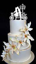 Топпер влюблённая пара с велосипедом, Топпер в торт