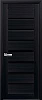 Двери межкомнатные Новый Стиль, Мода, модель Леона, с черным стеклом