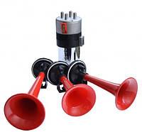 Сигнал звуковий «дудка» 12V 3-тоновий Elegant Maxi EL 100 748  червоний