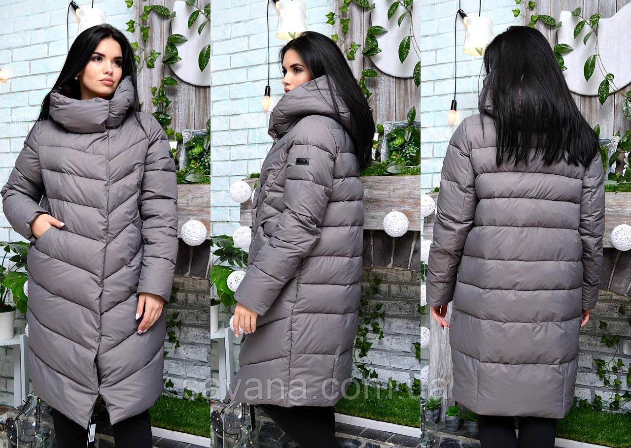 Женская куртка-пальто с капюшоном в расцветках. ДР-21-1018