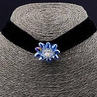 Чокер черный с синим камнем замшевый 30 см. 038486