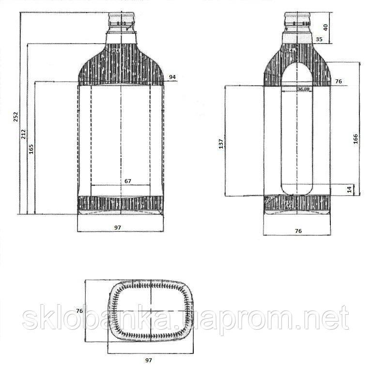 Бутылка стеклянная 1.0 л с крышкой-дозатором