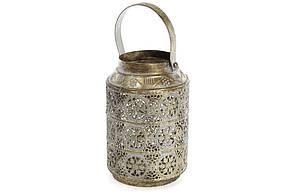 Декоративний металевий свічник зі скляною колбою 19.5 см (589-127)