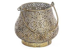 Декоративний металевий свічник зі скляною колбою 14.5 см (589-128)