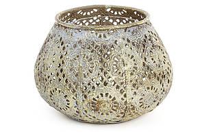 Декоративний металевий свічник зі скляною колбою 13.5 см (589-129)
