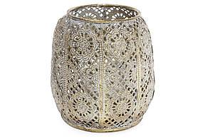 Декоративний металевий свічник зі скляною колбою 12.5 см (589-134)