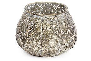 Декоративний металевий свічник зі скляною колбою 15см (589-135)