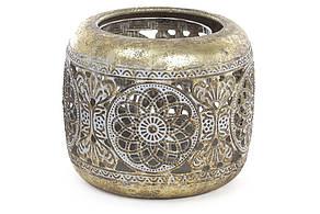 Декоративний металевий свічник зі скляною колбою 11.5 см (589-138)