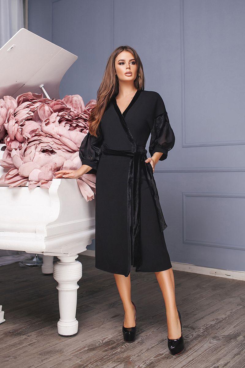 Оригинальное платье на запах с поясом и бархатной окантовкой и шифоновыми рукавами