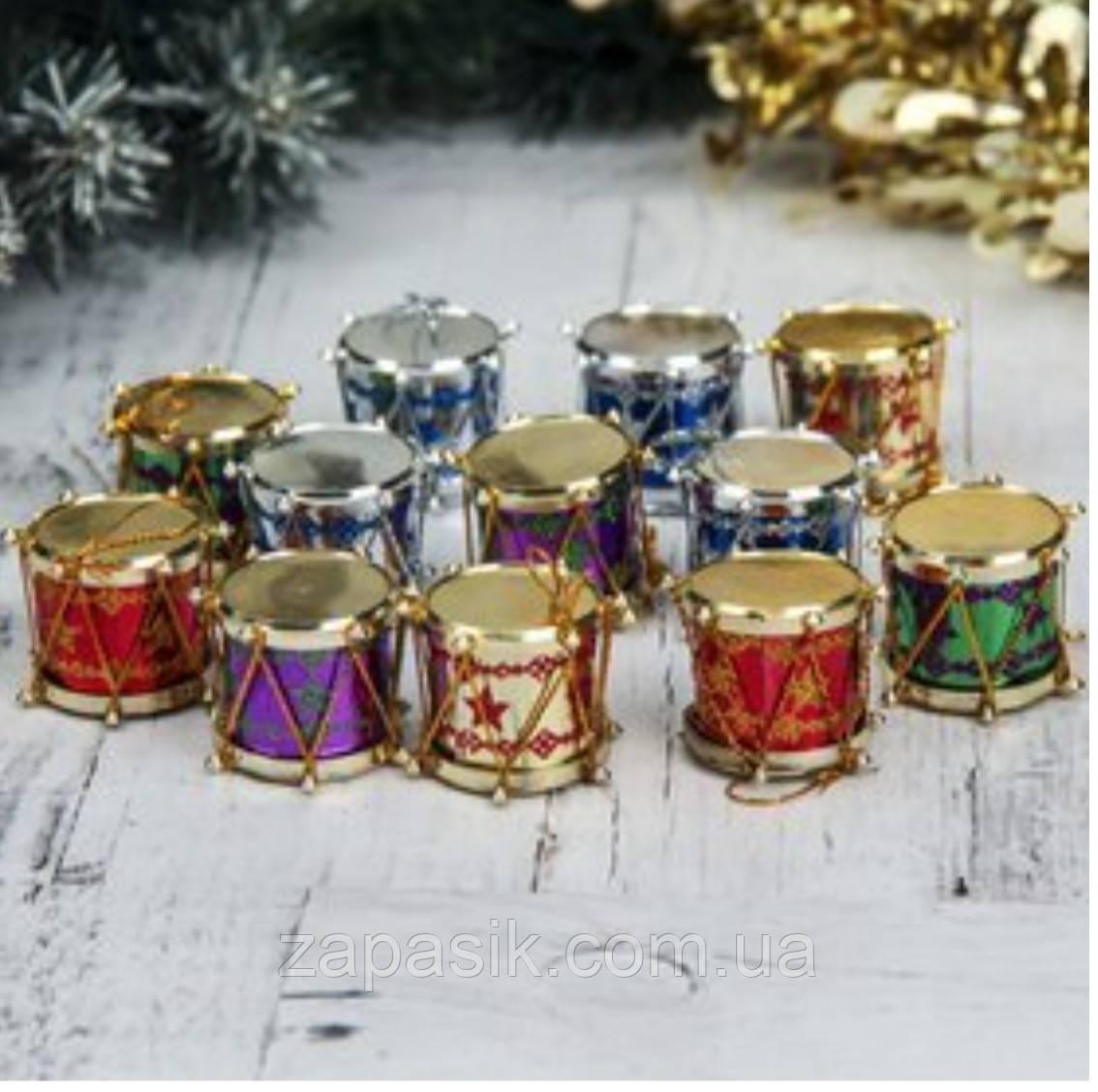 Елочные Новогодние Игрушки Барабаны 2,5 см Украшение на Елку Набор 12 шт