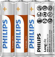 Батарейка солевая PHILIPS R03L4F/10 LONG LIFE AAA FOI 4 ZINC-CARBON