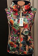 Жилетка женская Турция цветная тёплая стильная яркая модная  новинка с капюшоном , фото 1