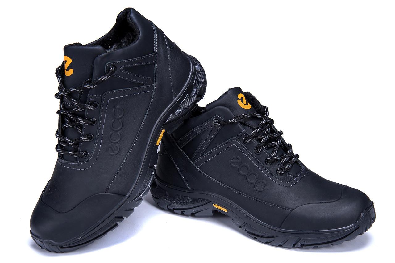 37c5c62a Мужские зимние кожаные ботинки Ecco Active Drive (реплика) -  Интернет-магазин