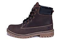 Коричневые мужские зимние кожаные ботинки Timberlend Crazy Shoes Chocolate (реплика)