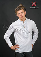 """Украинская вышиванка мужская """"белым по белому"""", арт. 2070"""