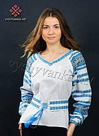 Українська вишиванка жіноча з синім орнаментом, арт. 0027