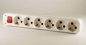 Колодка 6 розеток с кнопкой с заземлением FETIH 610-00