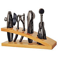 Набор для бара 5 предметов на деревянной подставке