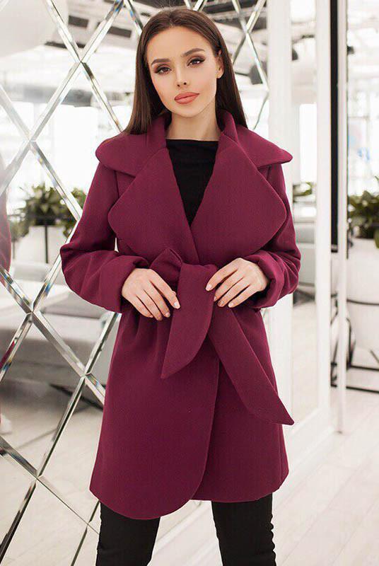 Короткое пальто на подкладке Альба бордовое