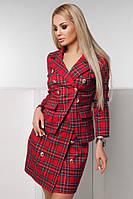 Деловой женский красный костюм с юбкой в клетку. Арт-7432/90, фото 1