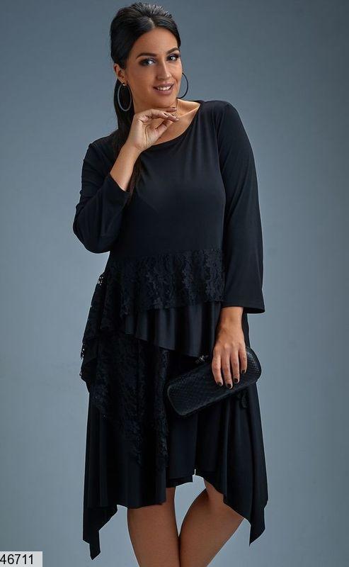 Платье в романтичном стиле Гипюр Трикотаж  Большие размеры от 48-50,50,52,54,56