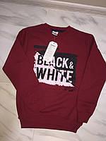 Детский свитер с начесом ТЕМА Black/White бордовый