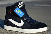 Nike Jordan зимние кроссовки синие