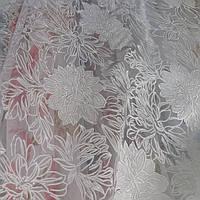Тюль белая Хризантема