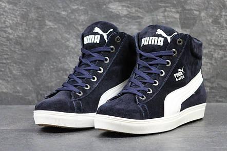 785b50fbad01 Высокие зимние кроссовки Puma Suede замшевые,темно синие  продажа ...