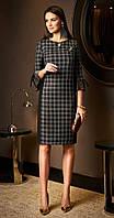 Платье Lissana-3495 белорусский трикотаж, клетка+черный, 52
